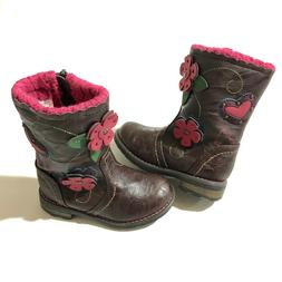 Ruum Toddler Girls Brown Boots Shoes Fall Booties Cowboy Pin
