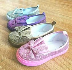 Toddler Girls Sneakers Glitter Slip on Shoes Size 4-8 New