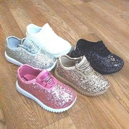 Toddler Girls Sneakers Glitter Tennis Shoes Size 4-9 New