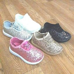 Toddler Girls Sneakers Glitter Tennis Sparkly Shoes Size 4-9
