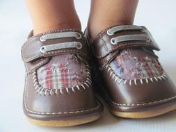 Toddler Shoes - Squeaky Shoes - Boys Brown w/ Plaid Dress Sh