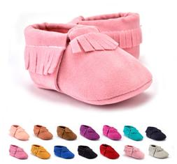 US Seller Baby Soft Sole suede tassel Shoes Infant Boy Girl