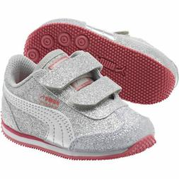 Puma Whirlwind Glitz Silver Gray Pink White Infant Toddler B