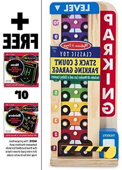 Melissa & Doug Wooden Stack & Count Parking Garage Classic T